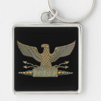 Roman Eagle Copper Silver-Colored Square Key Ring