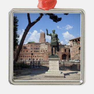 Roman emperor bronze statue at forum Silver-Colored square decoration