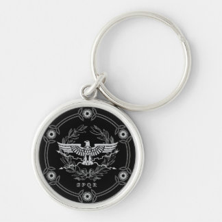 Roman Empire Emblem Silver-Colored Round Key Ring