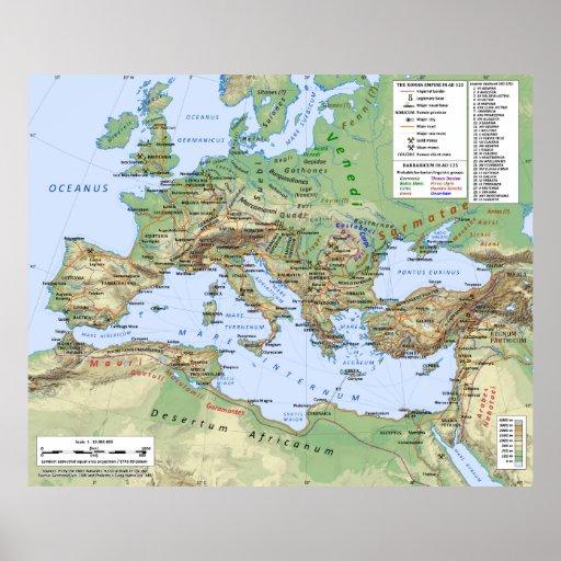 Roman Empire Map During Reign of Emperor Hadrian