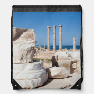 Roman Forum And Remains Of Statue, Sabratha, AZ Drawstring Bag