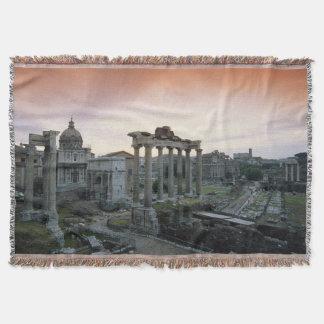 Roman Forum at dawn Throw Blanket