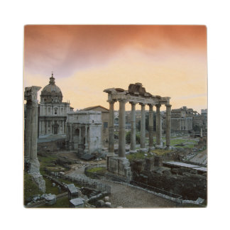 Roman Forum at dawn Wood Coaster