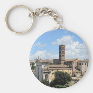Roman Forum Church with Romanesque bell tower Basic Round Button Key Ring
