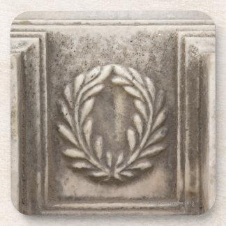 roman forum, laurel design on marble stone block coaster