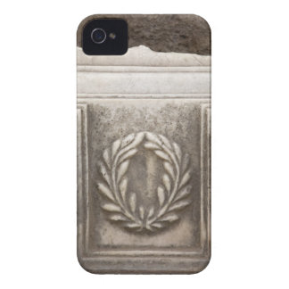 roman forum, laurel design on marble stone block iPhone 4 Case-Mate cases