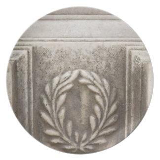 roman forum, laurel design on marble stone block plates