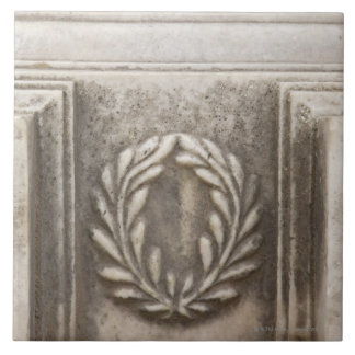roman forum, laurel design on marble stone block tile