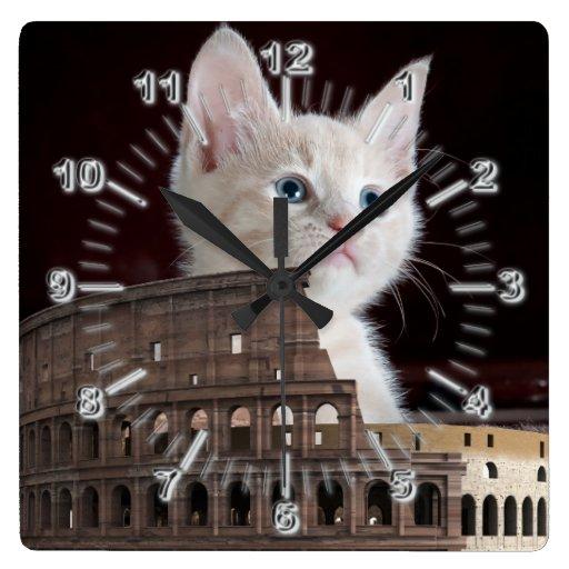 roman kitty Clock