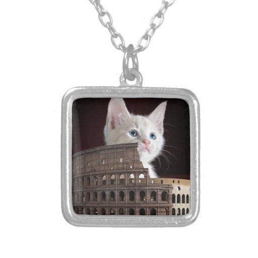roman kitty Square Pendant Necklace