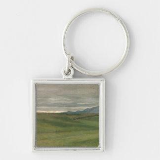 Roman Landscape Silver-Colored Square Key Ring