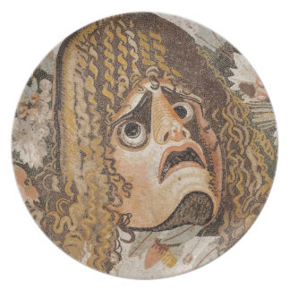 Roman mosaic, with mask, leaves and fruit dinner plate