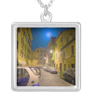Roman neighborhood street at night silver plated necklace