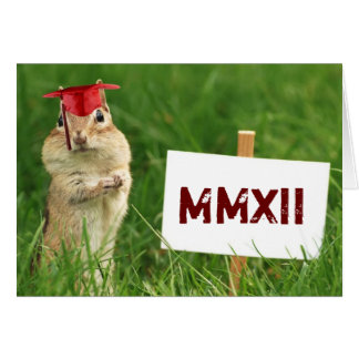 Roman Numeral 2012 Chipmunk Graduate Greeting Card