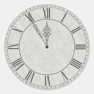 Roman Numeral Clock Face B&W Classic Round Sticker