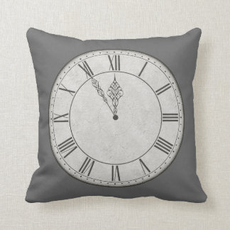 Roman Numeral Clock Face B&W Cushion