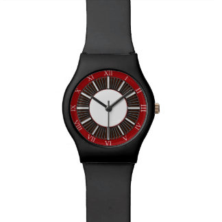 Roman Numerals Red and White Watch Black Straps