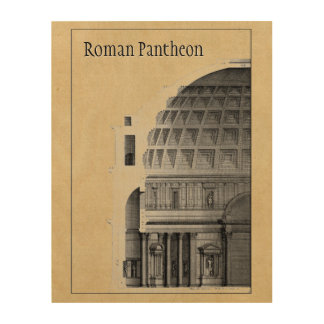 Roman Pantheon Classical Architecture Wood Wall Art