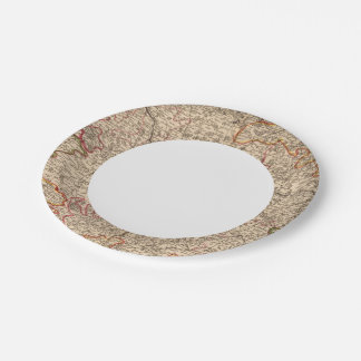 Roman roads and churches paper plate