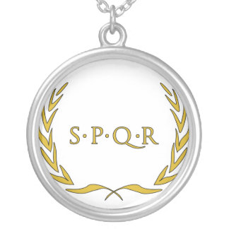 Roman Seal Silver Plated Necklace