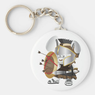 Roman Soldier Bunny Basic Round Button Key Ring