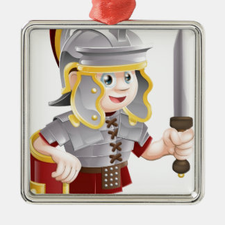 Roman Soldier with Sword Silver-Colored Square Decoration