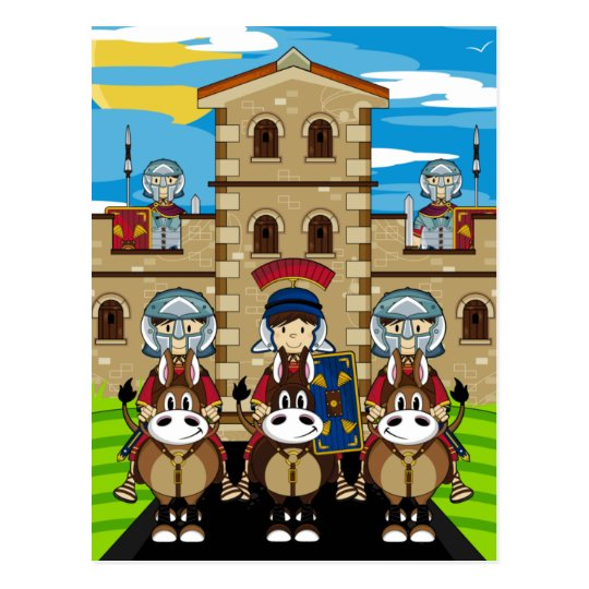 Roman Soldiers Guarding Tower Fort Postcard