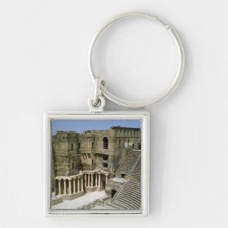Roman theatre at Bosra , Syria Silver-Colored Square Key Ring