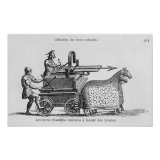 Roman war machine for firing javelins poster