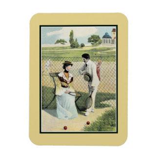 Romance at the tennis court part 1 rectangular photo magnet