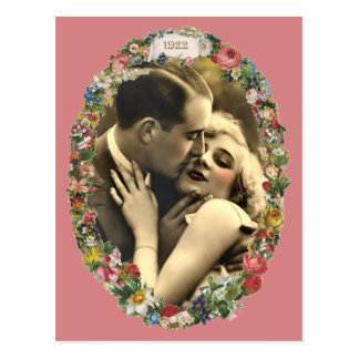 Romance in a Floral Oval Postcard