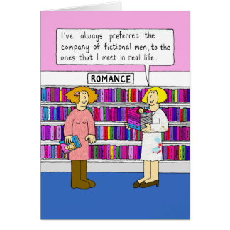 Romance in the library. greeting card