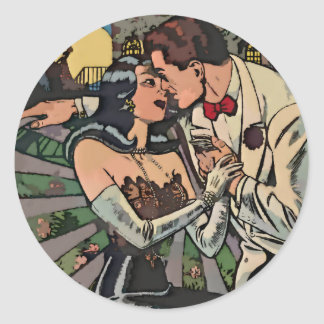 Romance in the Moonlight Classic Round Sticker