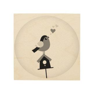 Romance little bird on wood wood canvases