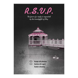 Romance on the Lake - Fuchsia Wedding RSVP Invite