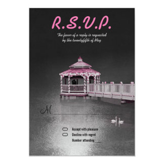"Romance on the Lake - Fuchsia Wedding RSVP Invite 5"" X 7"" Invitation Card"