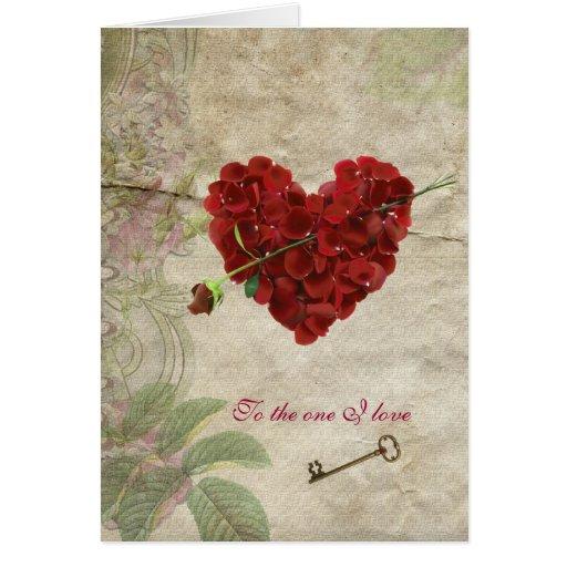 Romance Rose Petal Valentine  Heart with Key Card