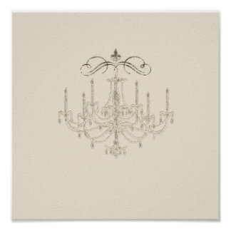 Romance with a Chandelier Print Poster