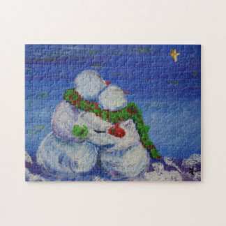 Romancing Snowman 11x14 Photo Puzzle with Gift Box