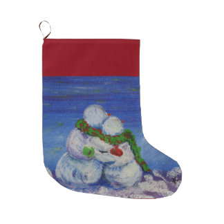 Romancing Snowman Christmas Stocking