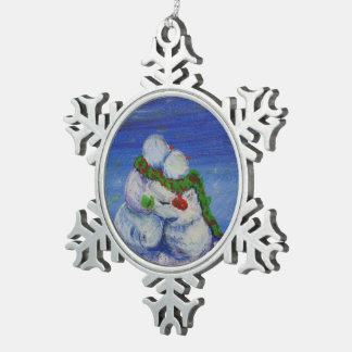"""Romancing Snowman"" pewter snowflake ornament"