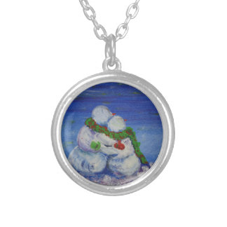 Romancing Snowman Silver Plated Round Necklace