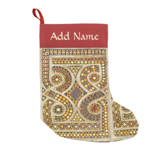 Romanesque Gold Mosaic Pattern Small Christmas Stocking