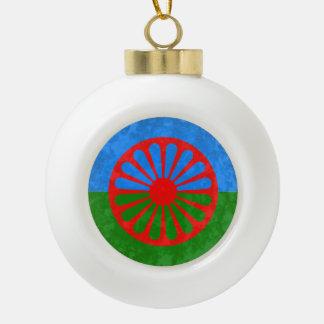 Romani Ceramic Ball Christmas Ornament