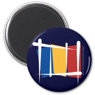 Romania Brush Flag 6 Cm Round Magnet