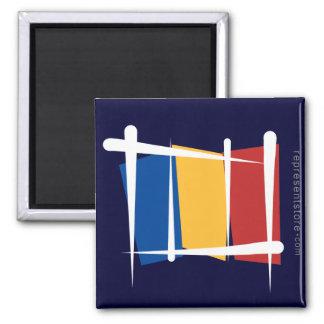 Romania Brush Flag Square Magnet