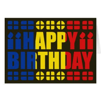 Romania Flag Birthday Card