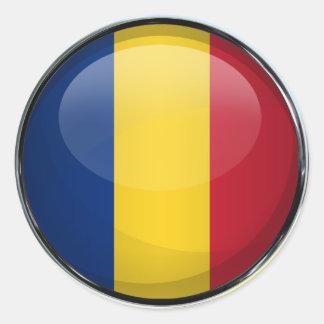 Romania Flag Glass Ball Classic Round Sticker