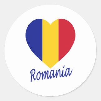 Romania Flag Heart Classic Round Sticker