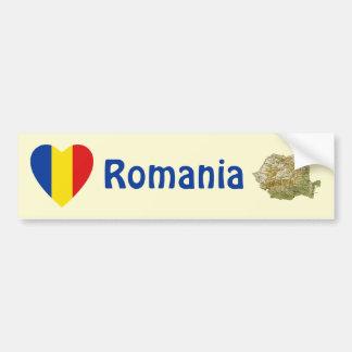 Romania Flag Heart + Map Bumper Sticker